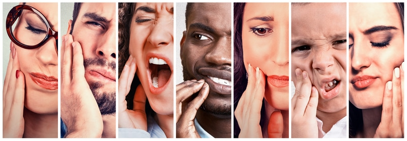 Collage of men and women holding their jaws in pain